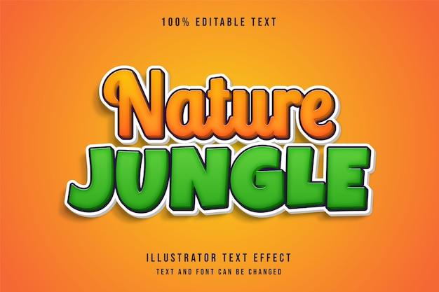 Naturdschungel, bearbeitbarer texteffekt gelbe abstufung orangegrüner comic-schatten-textstil Premium Vektoren