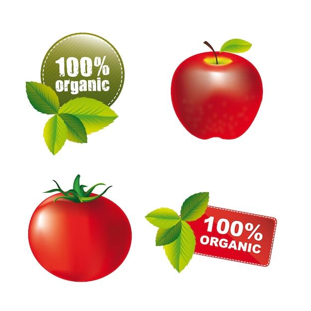 Nature tags mit apfel und tomaten isoliert. vektor illustrierung Premium Vektoren