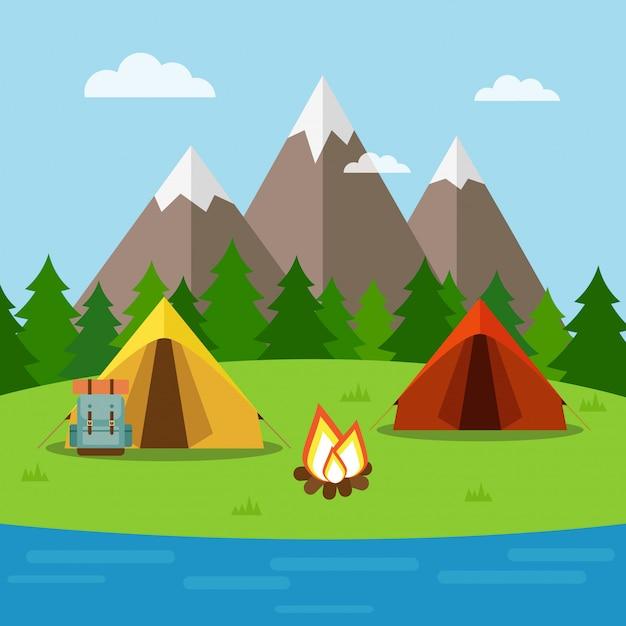 Naturhintergrund mit dem kampieren, wald, bergen und see Premium Vektoren