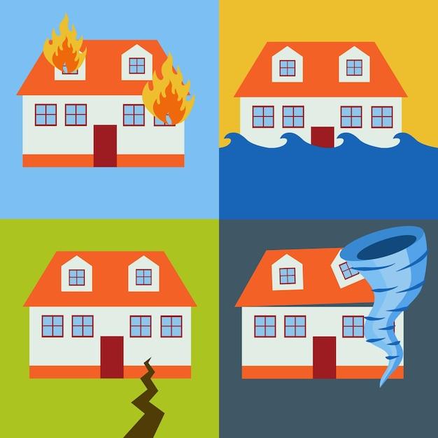 Naturkatastrophe designs Kostenlosen Vektoren
