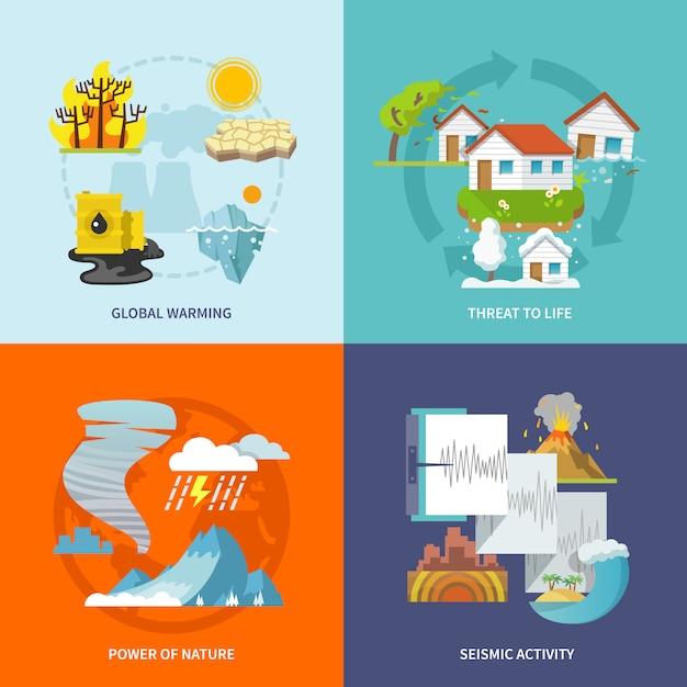 Naturkatastrophe flach Kostenlosen Vektoren