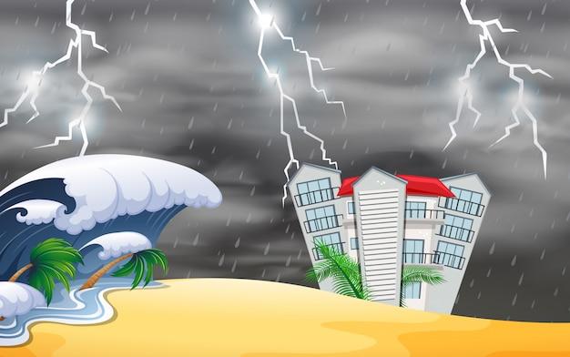 Naturkatastrophe in der nähe des gebäudes Kostenlosen Vektoren