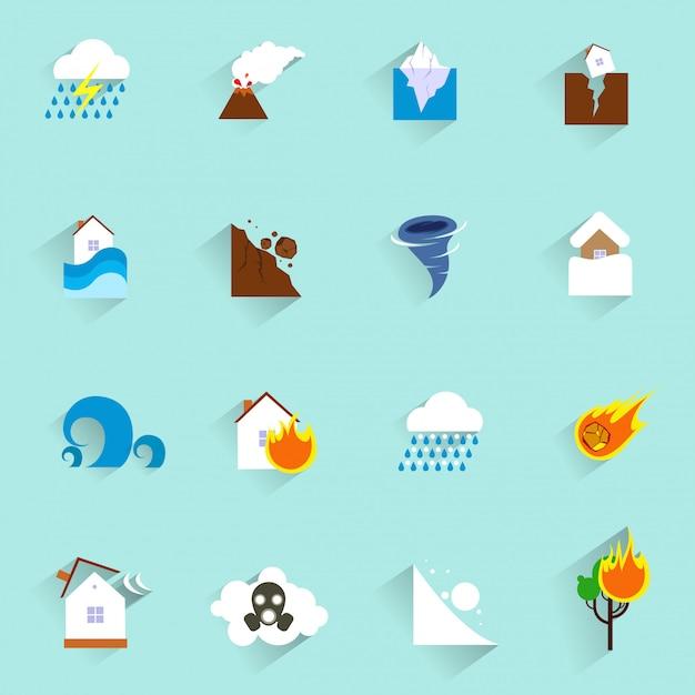 Naturkatastrophe symbole flach Premium Vektoren