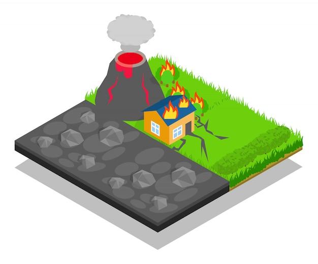 Naturkatastrophen-konzeptszene Premium Vektoren