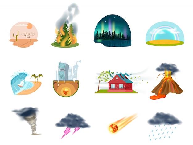 Naturkatastrophen lokalisierten die eingestellten ikonen Premium Vektoren