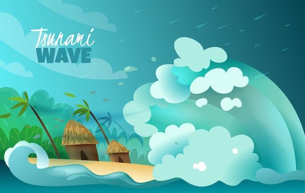 Naturkatastrophen stilisierten buntes plakat mit der kolossalen tsunamiwelle, die an land verheerende bungalows und palmen zusammenstößt Kostenlosen Vektoren