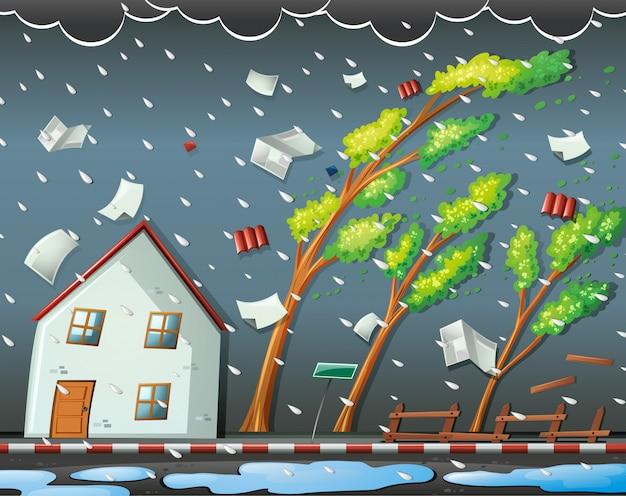 Naturkatastrophenszene mit hurrikan Kostenlosen Vektoren