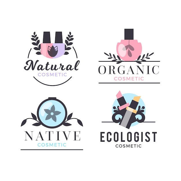 Naturkosmetik-logo-sammlung Premium Vektoren