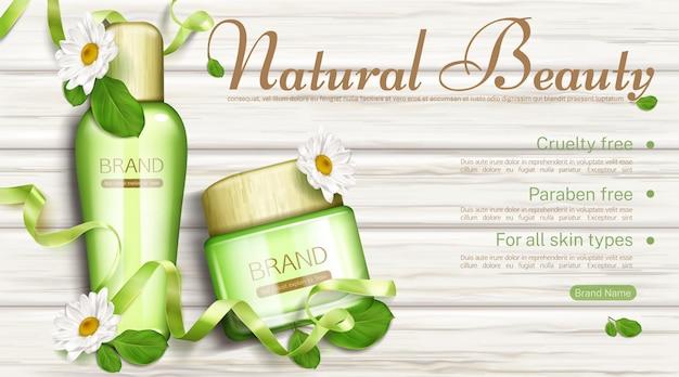 Naturkosmetikflasche und cremeglas mit kamille und grünen blättern bannerschablone. öko kosmetisches schönheitsprodukt paraben und grausamkeit frei für alle hauttypen Kostenlosen Vektoren