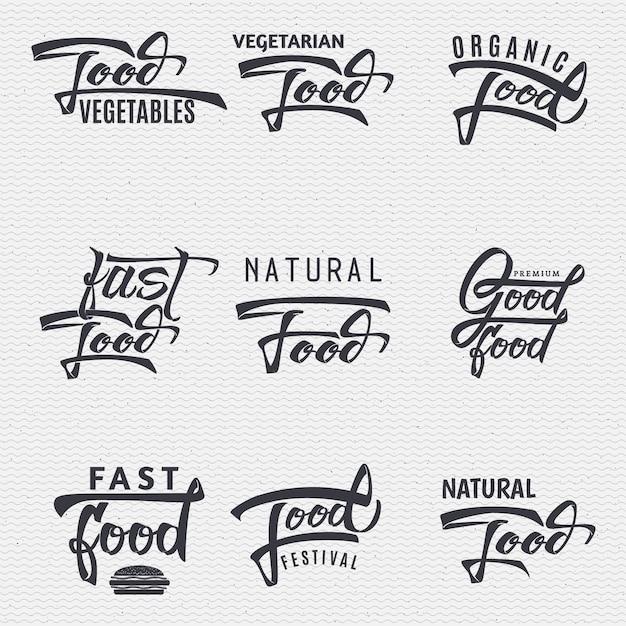Naturkost, biolebensmittel, food festival, gutes essen - insignien werden mit hilfe von schrift- und kalligrafiefähigkeiten hergestellt, die richtige typografie und komposition verwenden. Premium Vektoren