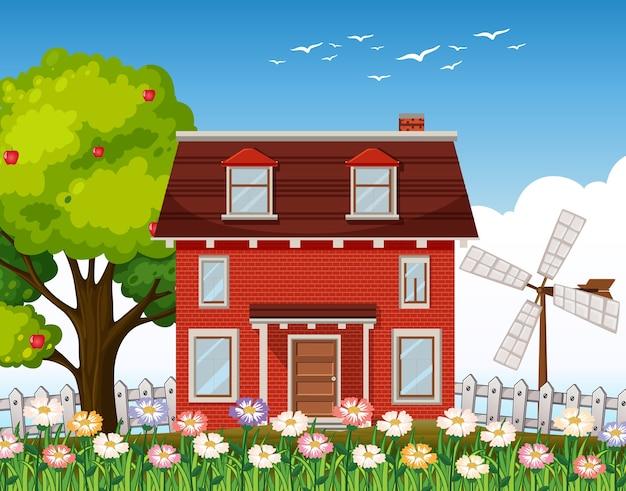 Naturlandhausillustration Kostenlosen Vektoren