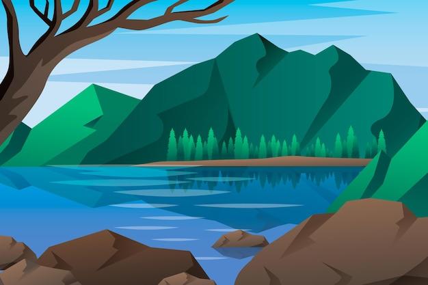 Naturlandschaft - hintergrund für videokonferenzen Kostenlosen Vektoren