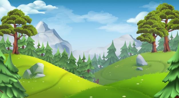 Naturlandschaft mit bäumen Premium Vektoren