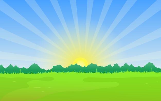 Naturlandschaft mit wiese und sommer sonnenaufgang. Premium Vektoren