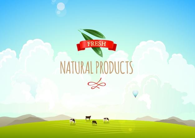 Naturlandschaftsillustration mit bergen, hügeln und wolken. Premium Vektoren