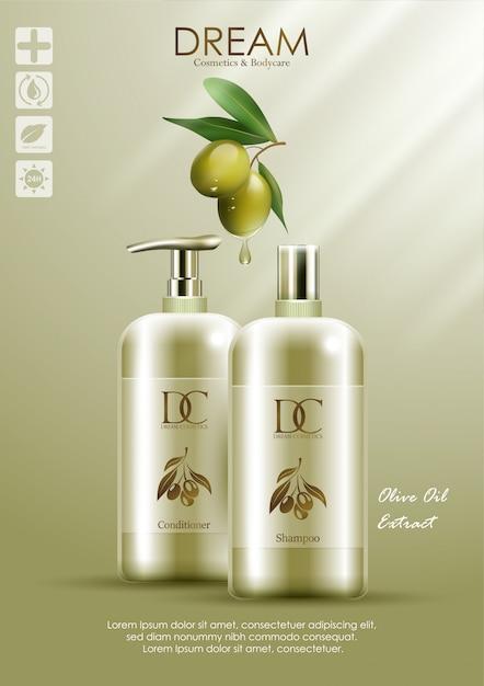 Naturprodukt conditioner und shampoo mit olivenöl Premium Vektoren