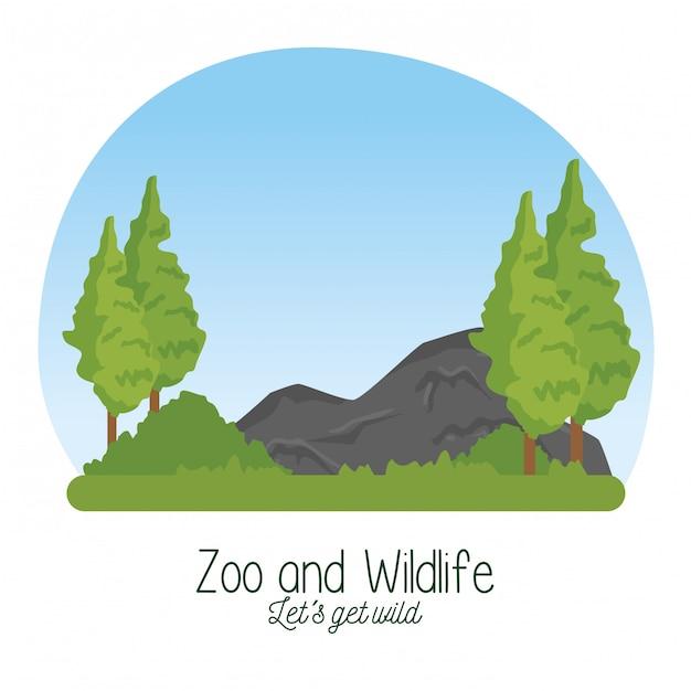 Naturreservatwild lebende tiere mit baum und steinen Kostenlosen Vektoren