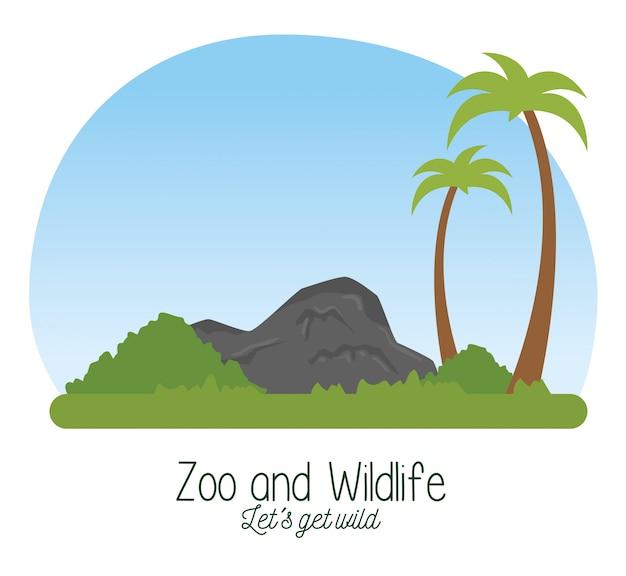 Naturschutzgebiet tierwelt mit palmen und sträuchern Kostenlosen Vektoren