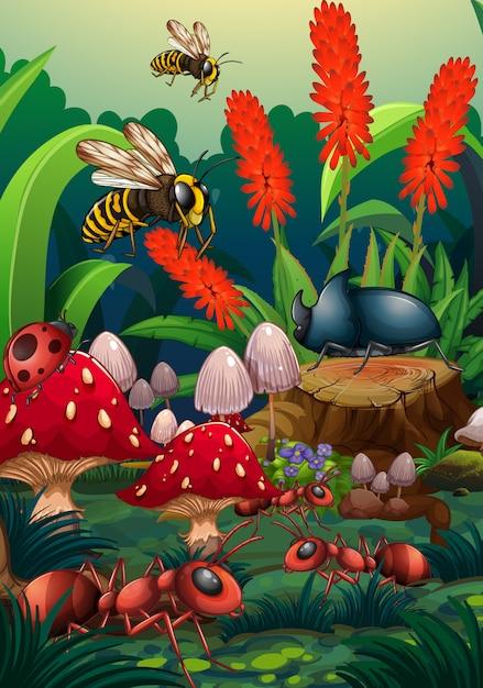 Naturszene mit insekten im garten Kostenlosen Vektoren