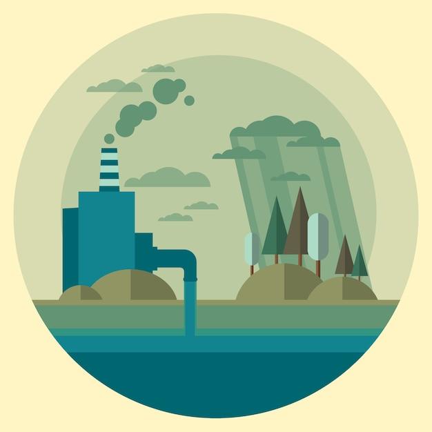 Naturverschmutzungsanlage Premium Vektoren