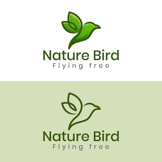 Naturvogel oder fliegenvogel freiheit minimales logo mit zwei versionen Premium Vektoren