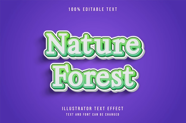 Naturwald, 3d bearbeitbarer texteffekt grüne abstufung niedlicher spielstileffekt Premium Vektoren