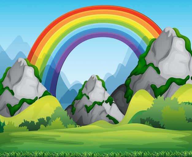 Naturwaldansicht mit regenbogen in der himmelsszene Kostenlosen Vektoren