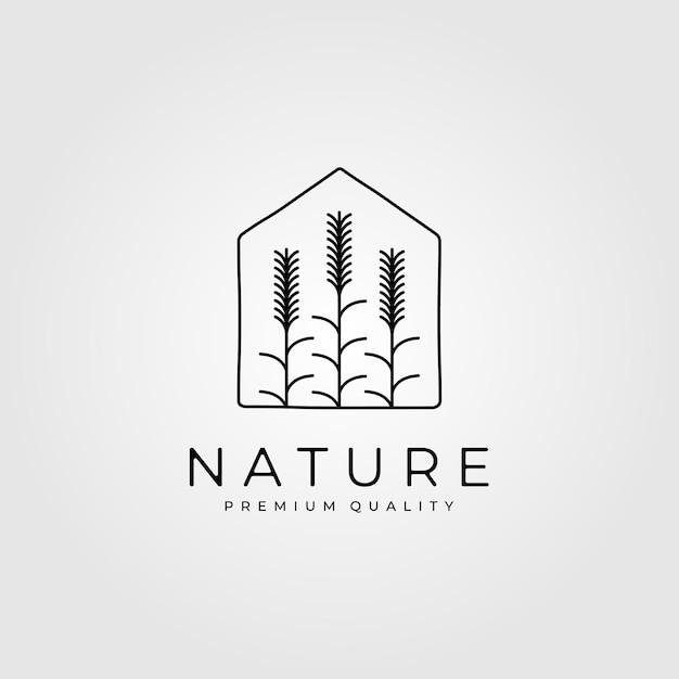 Naturweizenpflanzenlogo im hausdesign Premium Vektoren