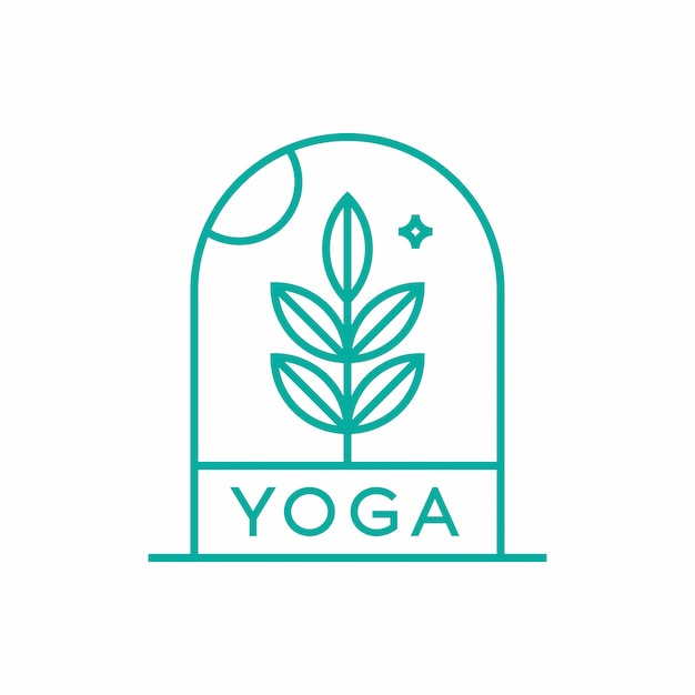 Naturyoga-logo-konzept des entwurfes. Premium Vektoren