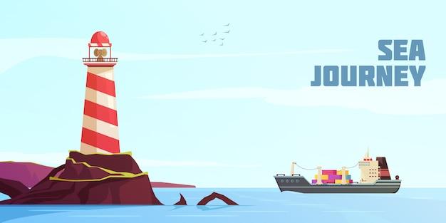 Nautical cartoon hintergrund Kostenlosen Vektoren