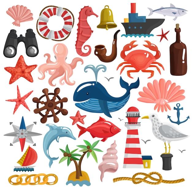 Nautische elemente und sea life set Premium Vektoren
