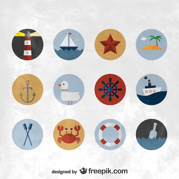 Nautische flach symbole gesetzt Kostenlosen Vektoren