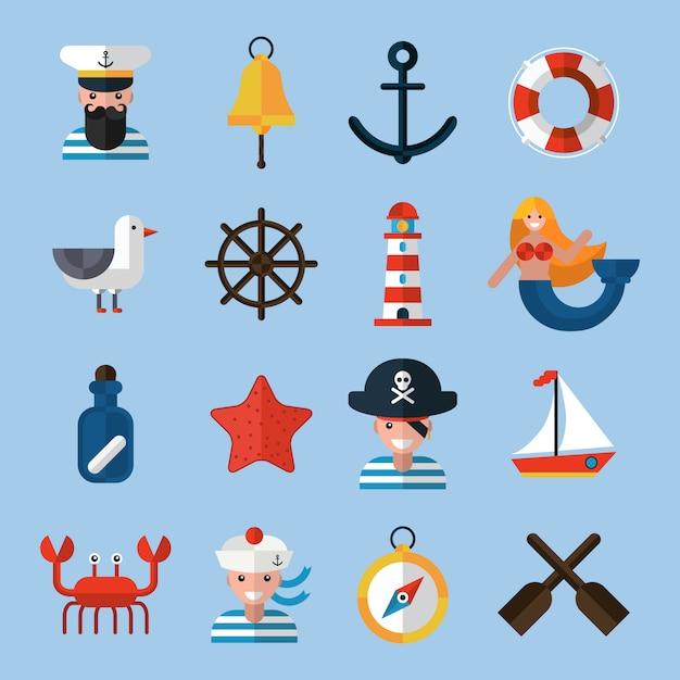 Nautische icons set Kostenlosen Vektoren