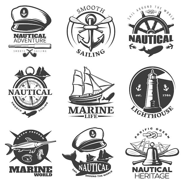 Nautisches emblem mit segel um die welt marine life leuchtturm marine welt beschreibungen gesetzt Kostenlosen Vektoren