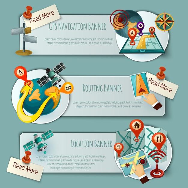 Navigations- und routing-banner-set Kostenlosen Vektoren