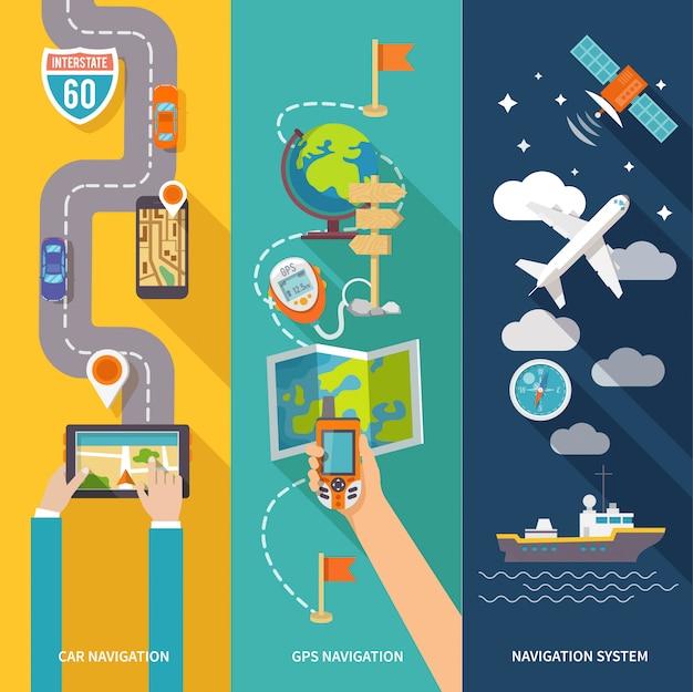 Navigationsbanner eingestellt Premium Vektoren