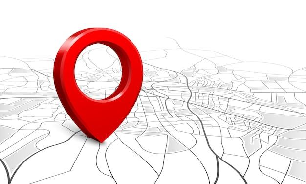 Navigationskarte, position der straße 3d stiftlokalisierer, stiftzeigernavigatorkarten und standortmarkierung Premium Vektoren