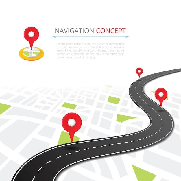 Navigationskonzept mit stiftzeiger Premium Vektoren