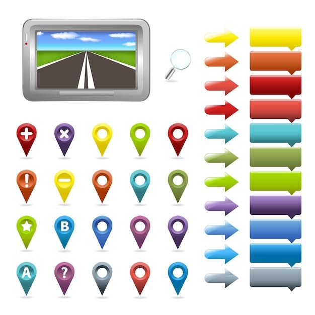 Navigator- und kartensymbole, auf weißem hintergrund, illustration Premium Vektoren