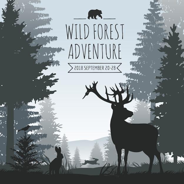 Nebeliger koniferenwaldvektorhintergrund der wild lebenden tiere mit kiefernbäumen und tierschattenbildern Premium Vektoren
