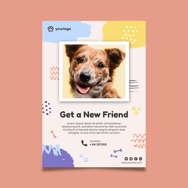 Nehmen sie ein haustierplakat mit hundefoto an Kostenlosen Vektoren