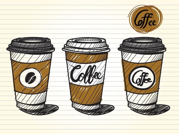 Nehmen sie eine kaffeetasse heraus Premium Vektoren