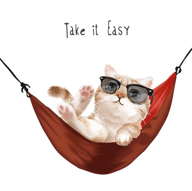 Nehmen sie es einfach slogan mit niedlichen katze in der sonnenbrille, die in der roten hängemattenillustration entspannt Premium Vektoren
