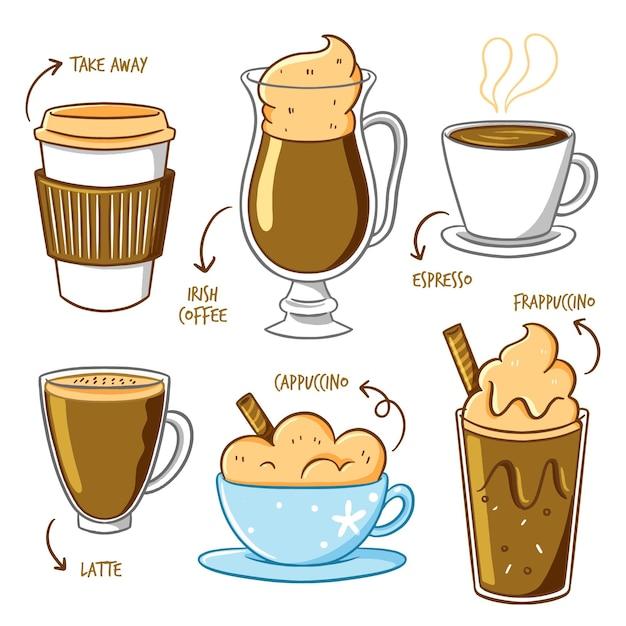 Nehmen sie kaffee und kaffee in bechern weg Kostenlosen Vektoren