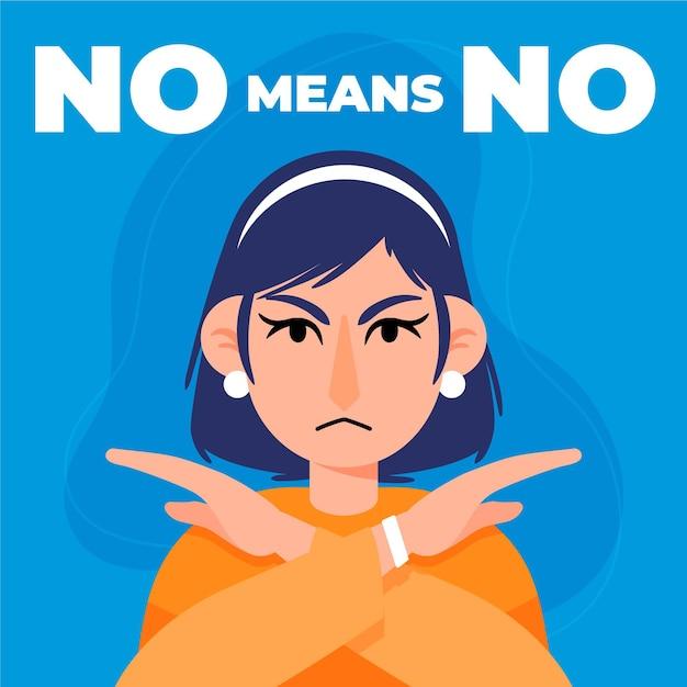 Nein bedeutet kein stopp missbräuchliches verhalten Kostenlosen Vektoren