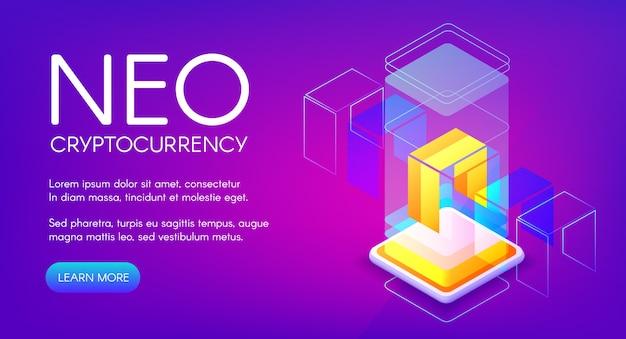 Neo cryptocurrency illustration für peer-to-peer-blockchain-plattform und mining-farm-technologie Kostenlosen Vektoren
