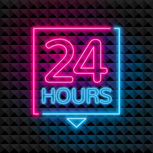Neon '24 stunden geöffnet' schild Kostenlosen Vektoren