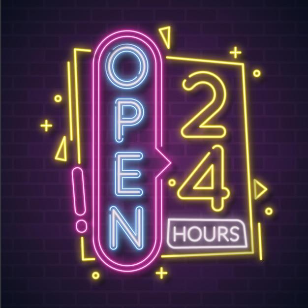 Neon 24-stunden-schild geöffnet Kostenlosen Vektoren