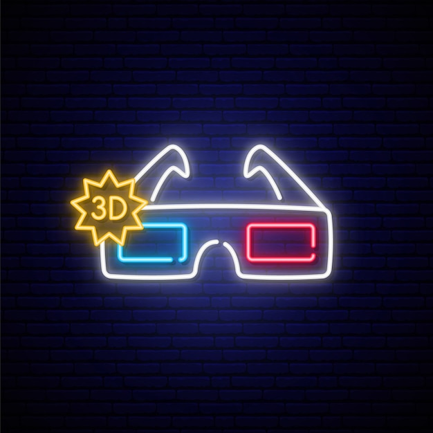 Neon 3d brille zeichen. Premium Vektoren
