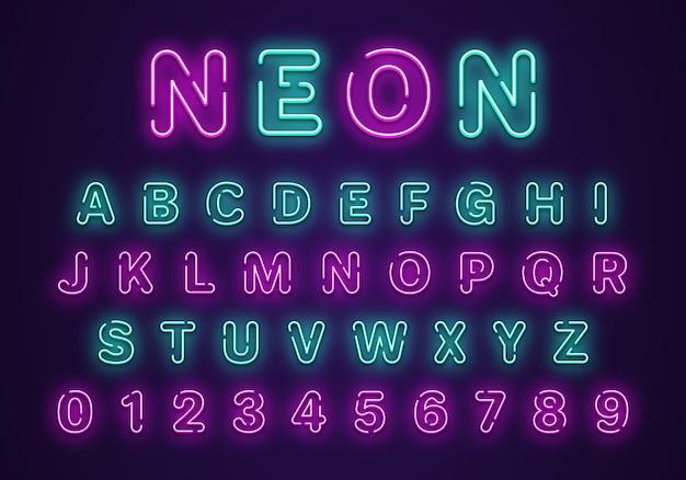 Neon alphabet und zahlen festgelegt Premium Vektoren